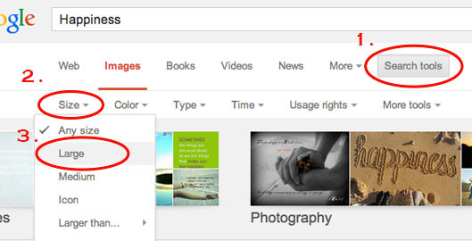 how to find large images